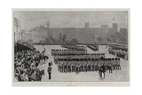 The King's Birthday in London, the March Past after the Trooping of the Colours at the Horse Guards Giclee Print by Frederic De Haenen