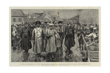 First Prisoners of War, Bulgarian Soldiers Brought under Guard into Belgrade Giclée-Druck von Frederic Villiers
