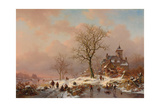 Winter Landscape with Figures Playing on the Ice, 1868 Giclee Print by Frederick Marianus Kruseman