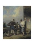 Coolies Round the Food Vendor's Stall, after 1825 Giclee Print by George Chinnery