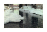 Thawing Ice: the Lysaker River, 1887 Giclee Print by Fritz Thaulow