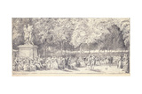 A Meeting in the Tuileries Gardens around a Statue, 1760 (Pair to 1163179) Giclee Print by Gabriel De Saint-aubin