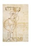 Drawing of Galileo's Pendulum Clock, Manuscript by Galileo Galilei (1564-1642), 85 Gal, F 50 R Giclee Print by Galileo Galilei