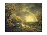 Extensive Wooded River Landscape, with Anglers Beside a Pool Below a Waterfall, and a Rainbow Giclee Print by George the Elder Barret