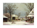 Farmyard in Winter, 1862 Giclee Print by George Henry Durrie