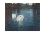 Swans on the River, C.1880 Giclee Print by Fritz Thaulow
