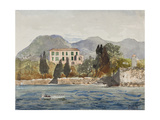 Rowing Barge with the Borbone Flag Approaching a Large House on the Neapolitan Coast Giclee Print by Giacinto Gigante