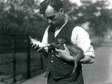 Keeper Harry Warwick Bottle Feeds a Baby Warthog at London Zoo, in August 1922 Photographic Print by Frederick William Bond
