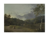 Landscape with Cottagers Giclee Print by George the Elder Barret
