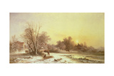 Winter Scene: Collecting Wood on a River Bank Giclee Print by George Augustus Williams