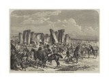The Wiltshire Champion Coursing Meeting at Stonehenge Giclee Print by George Bouverie Goddard