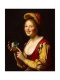 Smiling Girl, a Courtesan, Holding an Obscene Image, 1625 Giclee Print by Gerrit van Honthorst