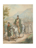 Russian Soldiers Accompanying a Priest on Horseback Giclee Print by Georg Emanuel Opitz