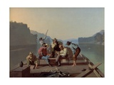 Raftsmen Playing Cards, 1847 Giclee Print by George Caleb Bingham