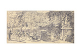 Figures Pulling a Barrel on a Trolley in the Tuileries Gardens, 1760 (Pair to 1163178) Giclee Print by Gabriel De Saint-aubin