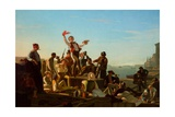Jolly Flatboatmen in Port, 1857 Giclee Print by George Caleb Bingham