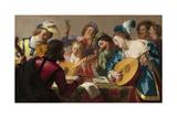 The Concert, 1623 Gicléedruk van Gerrit van Honthorst