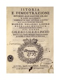 Title Page of History and Demonstrations Concerning Sunspots and their Properties Giclee Print by Galileo Galilei