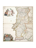 Map Showing Portugal, C.1680 Giclee Print by Frederik de Wit