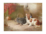 A Terrier and a King Charles Spaniel Scaring a Rat Giclee Print by George Armfield