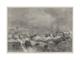 The Recent Gale, Wrecks at Kingstown, Bay of Dublin Giclee Print by George Henry Andrews