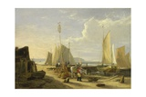 A Harbour Scene in the Isle of Wight, Looking Towards the Needles, 1824 Giclée-Druck von George Vincent