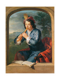 Young Man Playing the Flute Giclee Print by Gerard Hoet