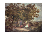 The Gipsies Tent, Engraved by Joseph Grozar Giclee Print by George Morland