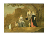 Family Group with a Dog and Goat in a Mountainous Landscape Giclee Print by Gerard ter Borch