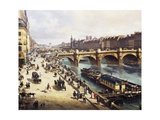 View of City and Pont-Neuf from Bank of Louvre, 1832 Giclee Print by Giuseppe Canella