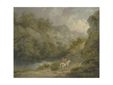 Rocky Landscape with Two Men on a Horse, 1791 Giclee Print by George Morland