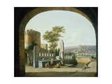 Women Gathered around a Fountain with a Gentleman Approaching on Horseback Giclee Print by Gerrit Adriaensz Berckheyde
