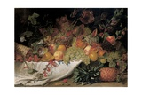 Fruit and Flowers on a Stone Ledge, 1829 Giclee Print by George Lance
