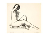 Nude Study, Girl Sitting on a Flowered Cushion, 1923-24 Giclee Print by George Wesley Bellows