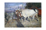 Ox Cart, 1885, by Giovanni Boldini (1842-1931), Oil on Panel, 17X25 Cm. Italy, 19th Century Giclee Print by Giovanni Boldini