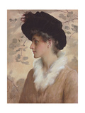Portrait of a Lady, Half-Length, Wearing a Black Hat and Fur Stole, 1888 (Pencil and W/C on Paper) Giclee Print by George Henry Boughton