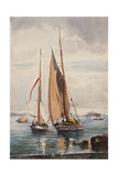 Fishing Boats and Steamship Giclee Print by Giacinto Gigante