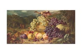 Still Life with Fruit in a Landscape, a Hunting Party Beyond, 1859 Giclee Print by George Lance