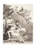 Mercury Appears to Æneas in a Dream, C.1770 Giclée-tryk af Giandomenico Tiepolo