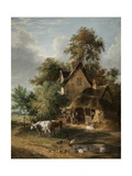 Farmyard Scene Giclee Print by George Vincent