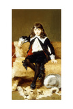 Portrait of a Boy, Seated Full Length, on a Sofa Draped with a Lion Skin Giclee Print by Geza Vastagh