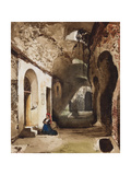Woman Praying at Vaulted Shrine in the Amphitheatre of Pozzuoli Giclee Print by Giacinto Gigante