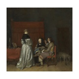 Gallant Conversation, known as 'The Paternal Admonition', C.1654 Giclee Print by Gerard ter Borch
