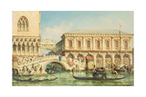 View of the Doge's Palace, the Bridge of Sighs and the Prison Giclee Print by Giovanni Grubacs