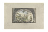 Ruins at Pergamon Giclee Print by Giovanni Battista Borra