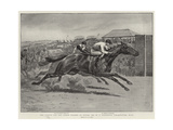 The Finish for the Derby Stakes at Epsom, Mr W C Whitney's Volodyovski Wins Giclee Print by Godfrey Douglas Giles