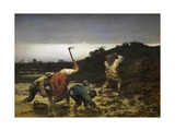 Peasants Harvesting Potatoes During Flooding of Rhine in 1852 Giclee Print by Gustave Brion