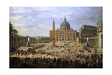 The Output of the Duke of Choiseul (1719-1785) of St. Peter's Square in Rome Giclee Print by Giovanni Paolo Pannini