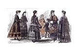 Paris Fasions for February 1869 Giclee Print by Gustave Janet