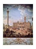 Piazza and Church of Santa Maria Maggiore, 1742 Reproduction procédé giclée par Giovanni Paolo Pannini